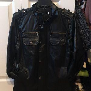 NWT Black L Fake leather jacket. Unisex size